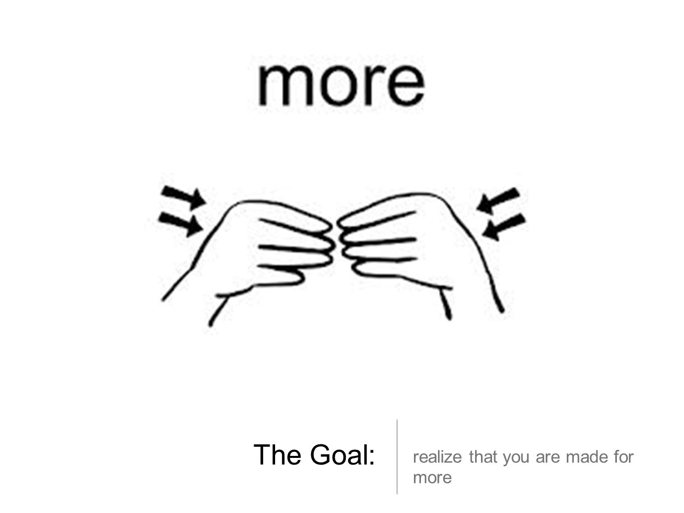 The Goal: realize that you are made for more