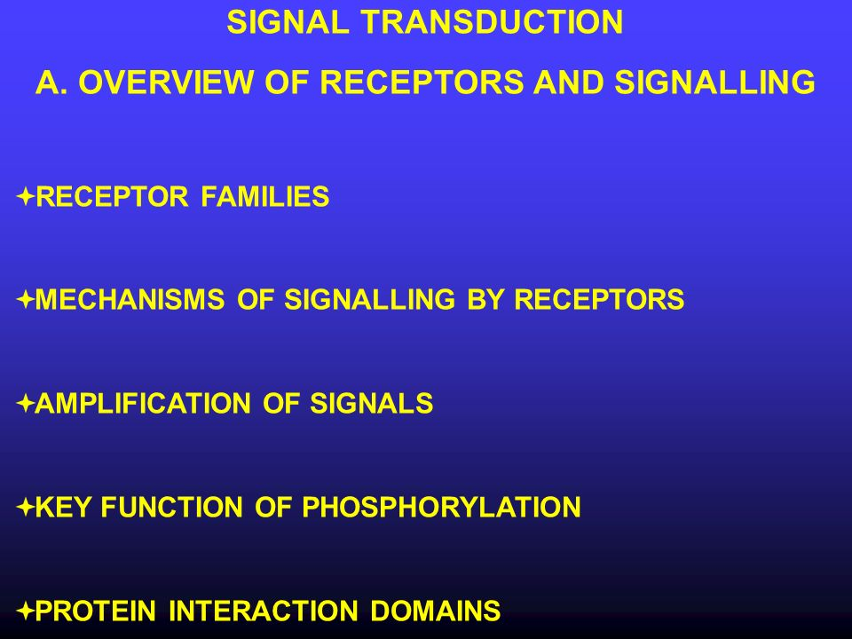 Objectives of this lecture Recognize the different types of receptors and the mechanisms they use to signal into cells Understand the importance of signal amplification Understand the basic mechanisms of protein phosphorylation and the type of kinases Identify some of the key protein interaction domains that function in signalling pathways Be aware of applicability of these studies to virtually all disease processes (cancer is highlighted)