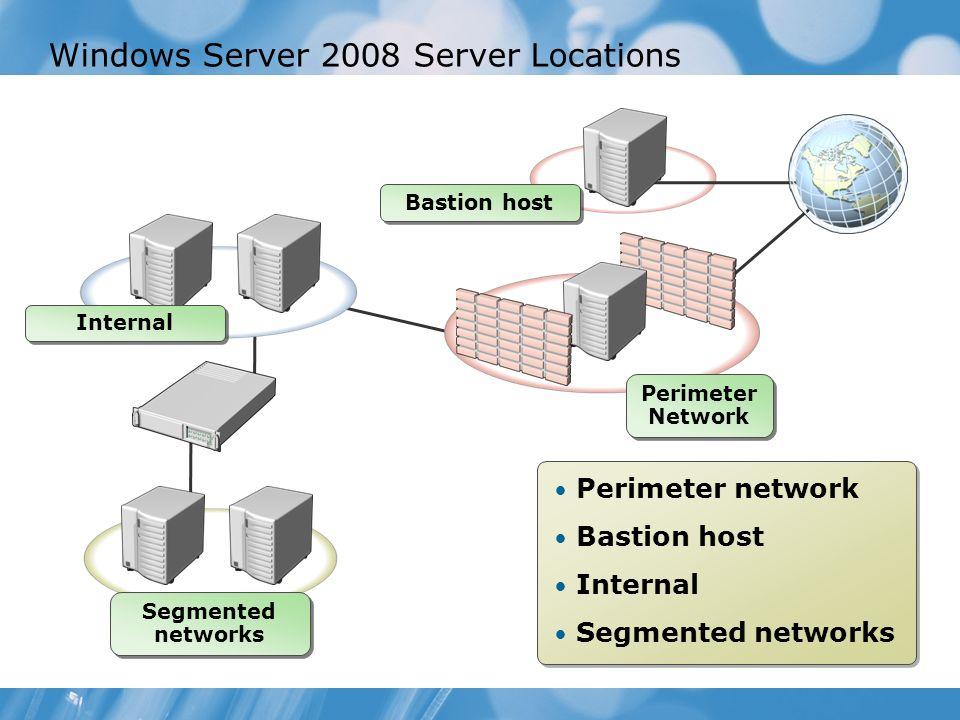 Windows Server 2008 Server Locations Perimeter network Bastion host Internal Segmented networks Perimeter network Bastion host Internal Segmented netw