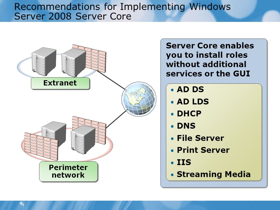 Server Core enables you to install roles without additional services or the GUI Recommendations for Implementing Windows Server 2008 Server Core AD DS