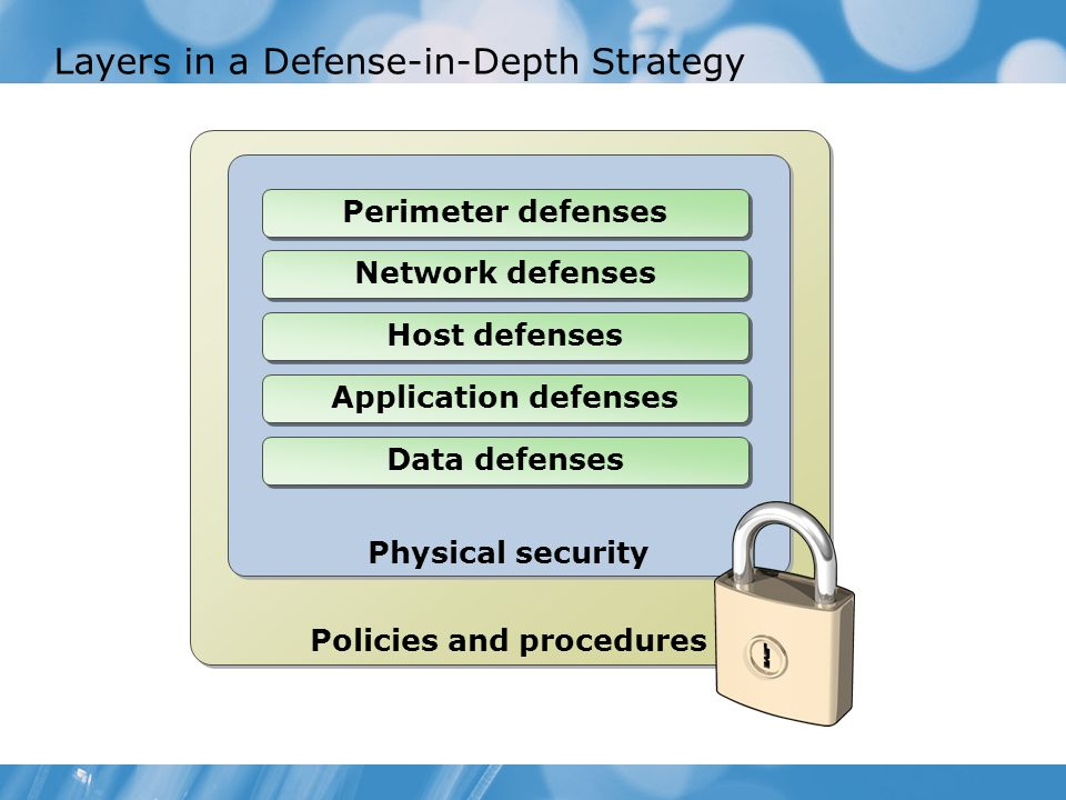 Layers in a Defense-in-Depth Strategy Policies and procedures Physical security Perimeter defenses Network defenses Host defenses Application defenses
