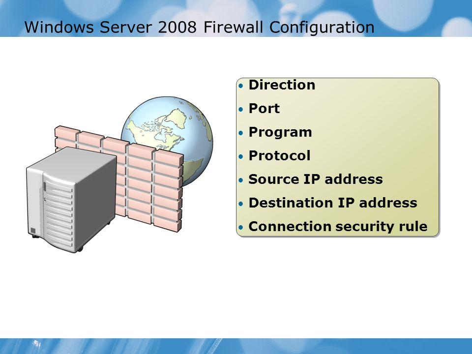 Windows Server 2008 Firewall Configuration Direction Port Program Protocol Source IP address Destination IP address Connection security rule Direction