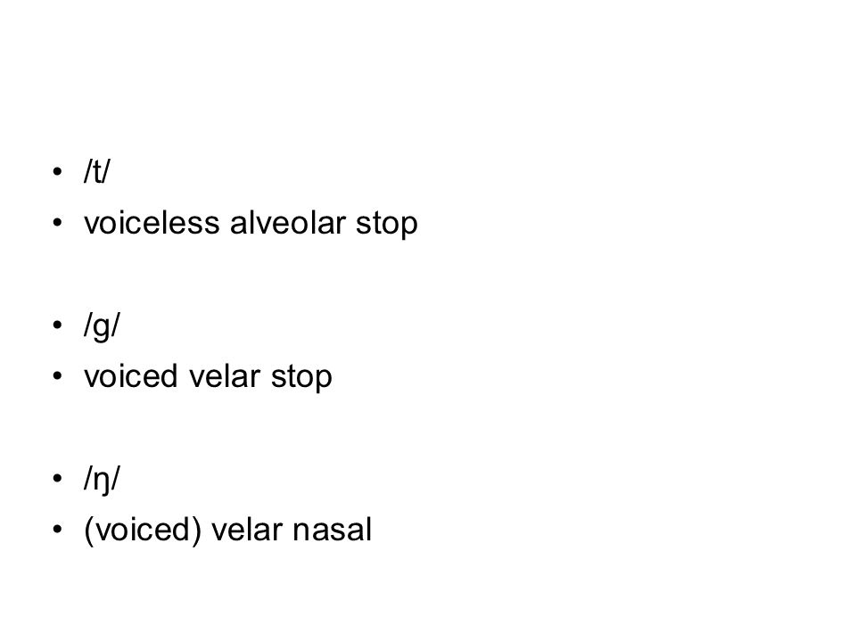 /t/ voiceless alveolar stop /g/ voiced velar stop /ŋ/ (voiced) velar nasal