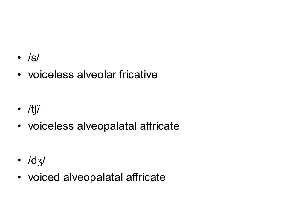 /s/ voiceless alveolar fricative /t ʃ / voiceless alveopalatal affricate /d ʒ / voiced alveopalatal affricate