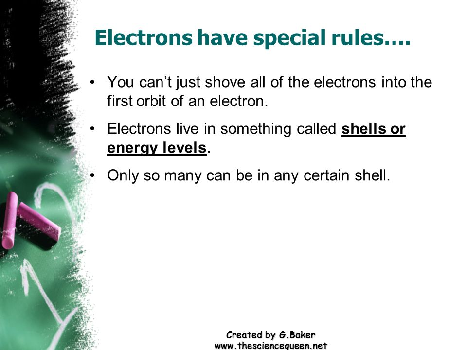 Created by G.Baker www.thesciencequeen.net Electrons have special rules…. You cant just shove all of the electrons into the first orbit of an electron