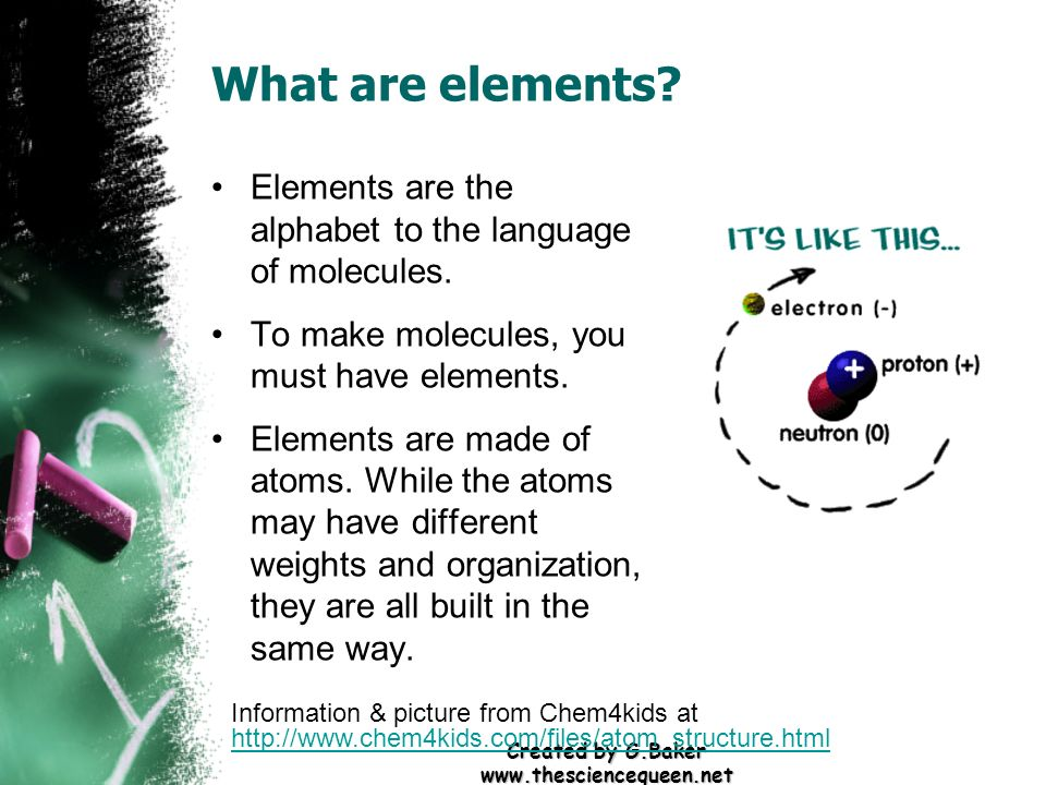 Created by G.Baker www.thesciencequeen.net What are elements? Elements are the alphabet to the language of molecules. To make molecules, you must have