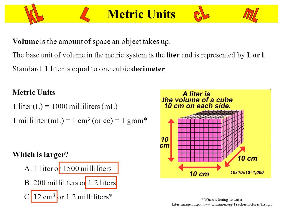 Metric Units Volume is the amount of space an object takes up. The base unit of volume in the metric system is the liter and is represented by L or l.