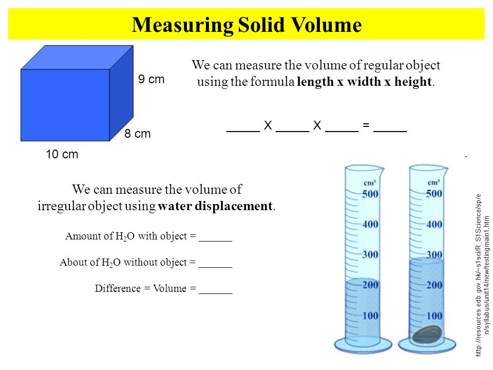 Measuring Solid Volume 10 cm 9 cm 8 cm We can measure the volume of regular object using the formula length x width x height. _____ X _____ X _____ =
