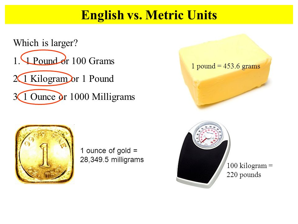 English vs. Metric Units Which is larger? 1. 1 Pound or 100 Grams 2. 1 Kilogram or 1 Pound 3. 1 Ounce or 1000 Milligrams 1 pound = 453.6 grams 100 kil