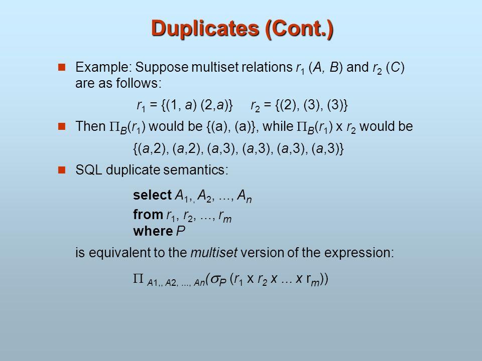 Duplicates (Cont.) Example: Suppose multiset relations r 1 (A, B) and r 2 (C) are as follows: r 1 = {(1, a) (2,a)} r 2 = {(2), (3), (3)} Then B (r 1 )