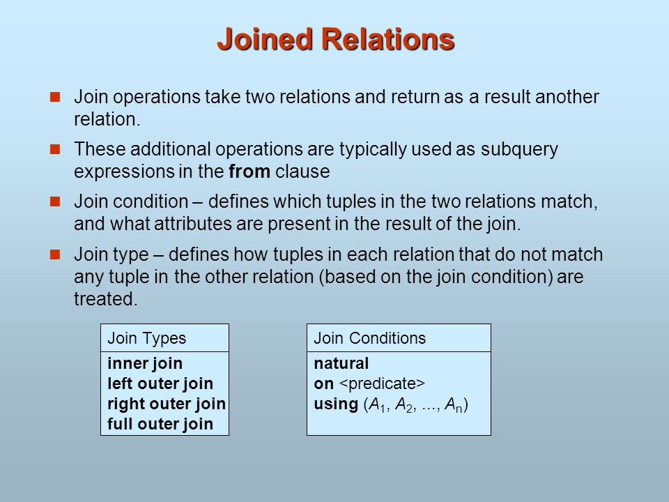 Joined Relations Join operations take two relations and return as a result another relation. These additional operations are typically used as subquer