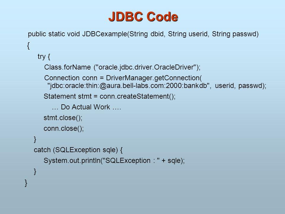 JDBC Code public static void JDBCexample(String dbid, String userid, String passwd) { try { Class.forName (