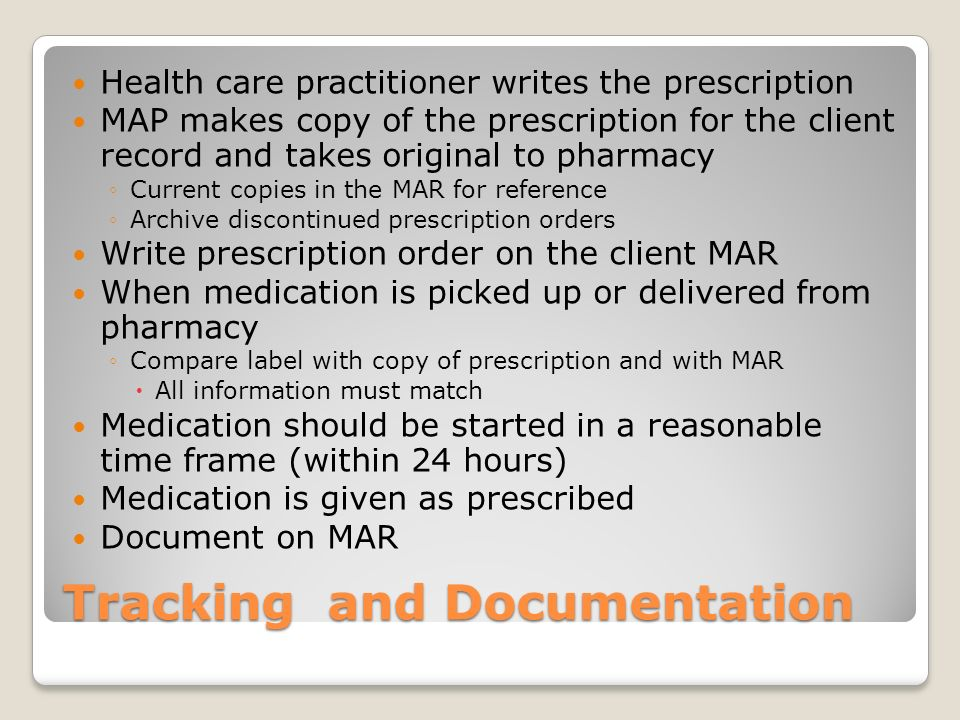 Prescription is ordered for your client What happens next?