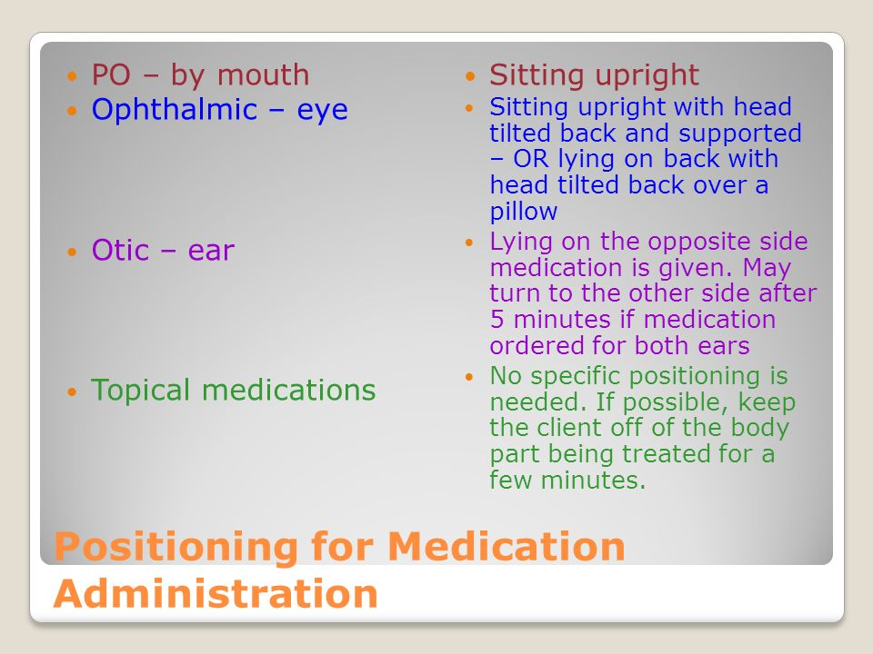 Importance of positioning For Medication Administration