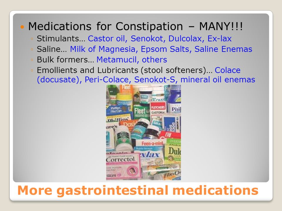 More Gastrointestinal medications Anti-inflammatory drugs – treat colitis… Medrol and Prednisone Gastrointestinal stimulant – speeds transit time of f