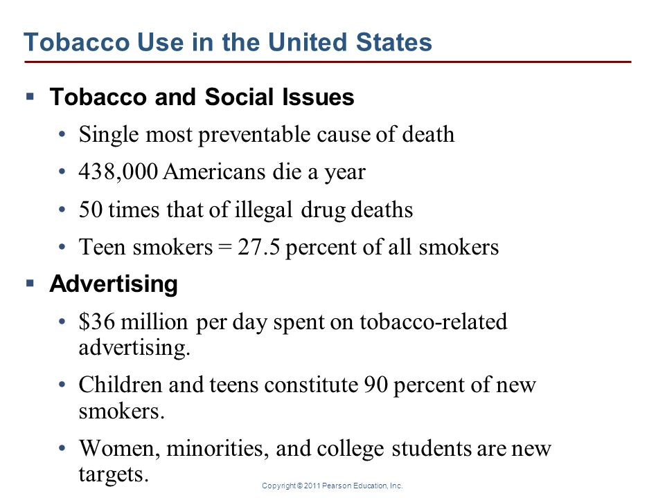 Copyright © 2011 Pearson Education, Inc. Tobacco Use in the United States Tobacco and Social Issues Single most preventable cause of death 438,000 Ame