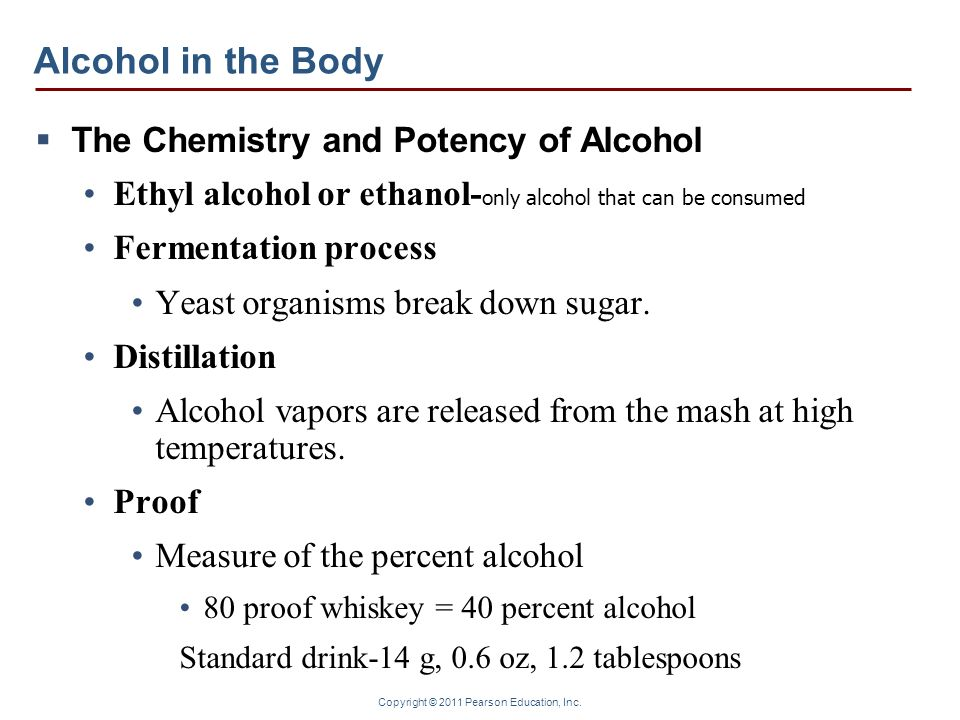 Copyright © 2011 Pearson Education, Inc. Alcohol in the Body The Chemistry and Potency of Alcohol Ethyl alcohol or ethanol- only alcohol that can be c
