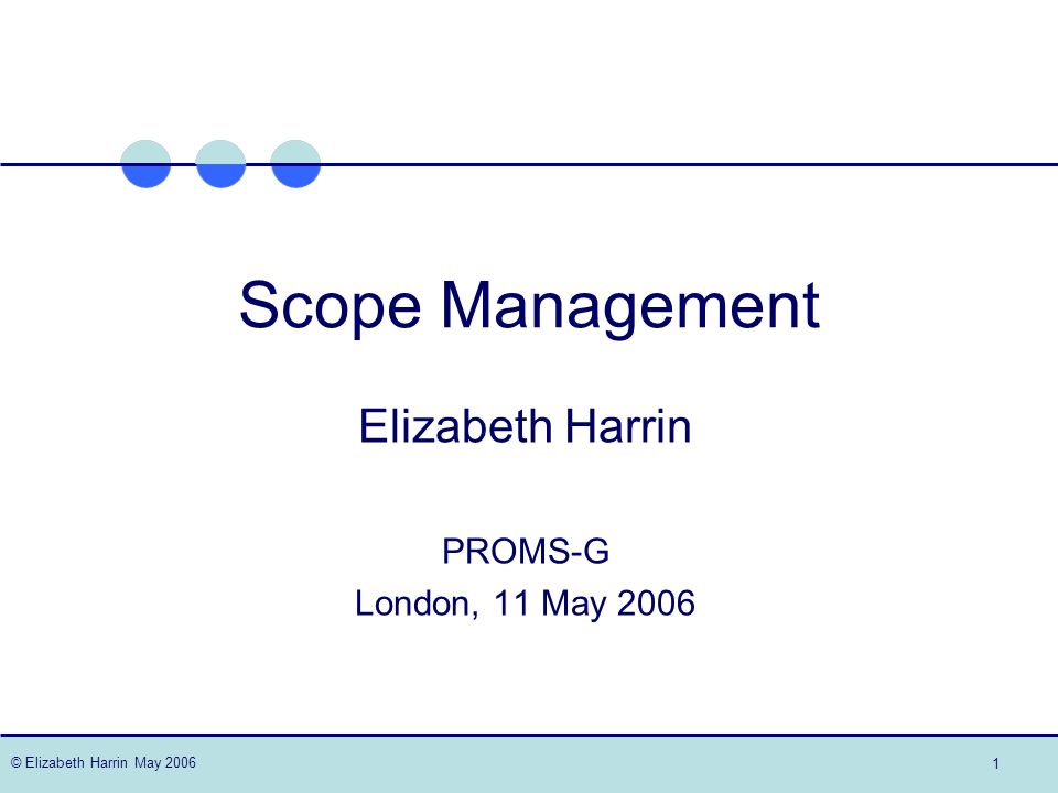 © Elizabeth Harrin May 2006 12 The triangle Scope Resources Time Scope Resources Time Scope Resources Time