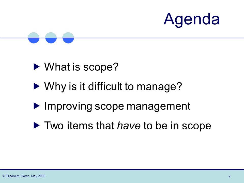 © Elizabeth Harrin May 2006 2 Agenda What is scope.