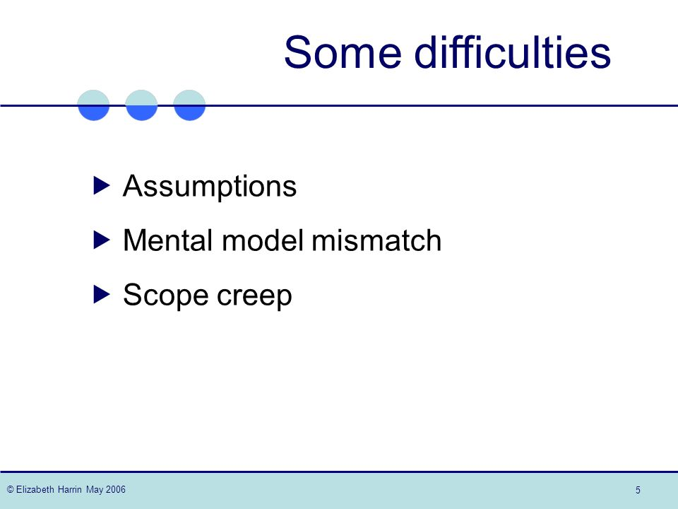 © Elizabeth Harrin May 2006 5 Some difficulties Assumptions Mental model mismatch Scope creep