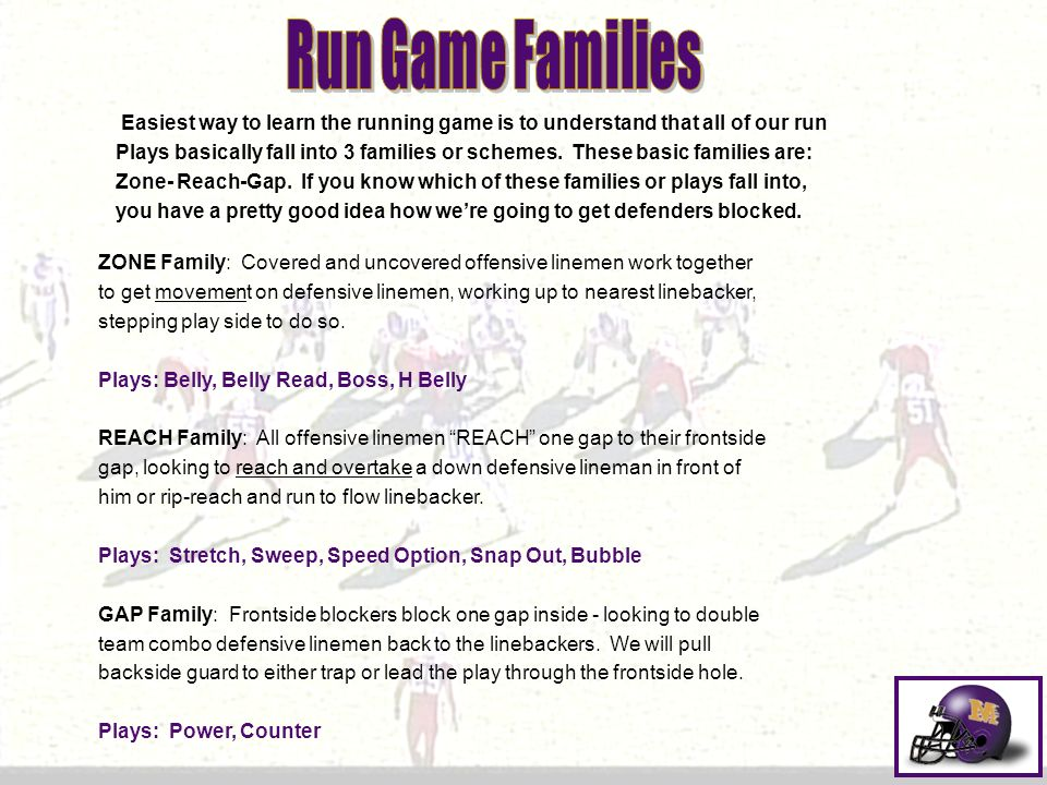 Easiest way to learn the running game is to understand that all of our run Plays basically fall into 3 families or schemes. These basic families are: