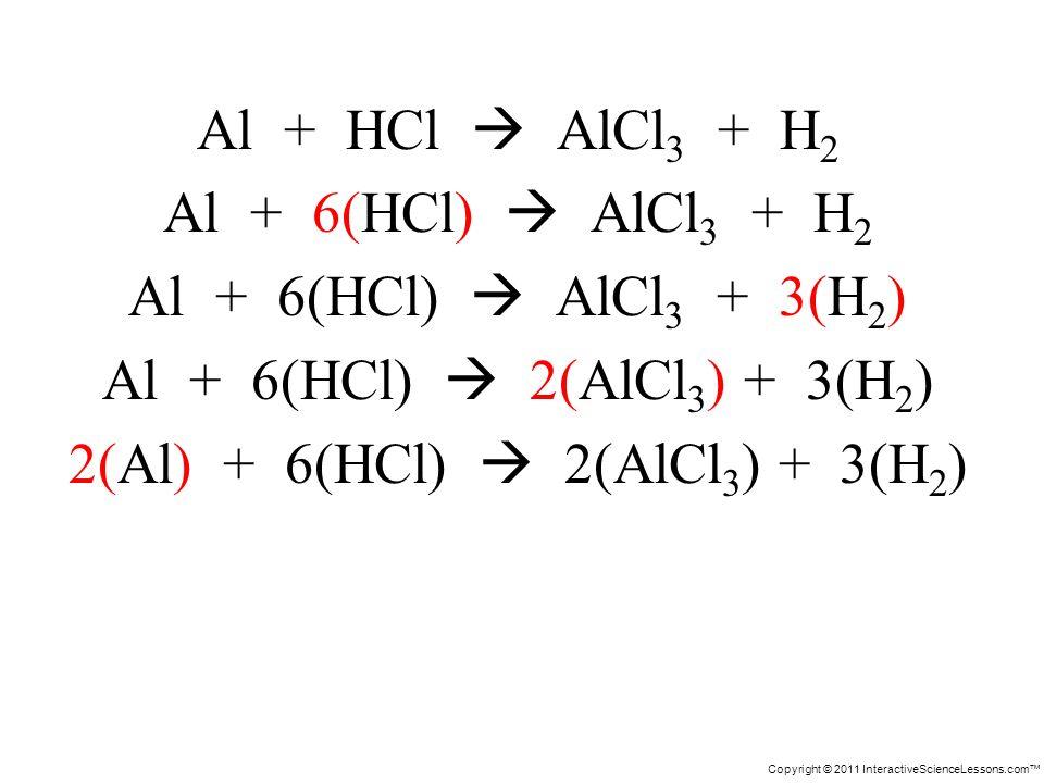 Copyright © 2011 InteractiveScienceLessons.com Al + HCl AlCl 3 + H 2 Al + 6(HCl) AlCl 3 + H 2 Al + 6(HCl) AlCl 3 + 3(H 2 ) Al + 6(HCl) 2(AlCl 3 ) + 3(H 2 ) 2(Al) + 6(HCl) 2(AlCl 3 ) + 3(H 2 )