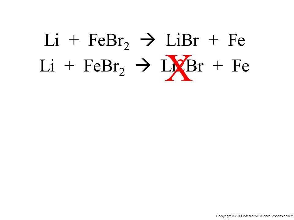 Copyright © 2011 InteractiveScienceLessons.com Li + FeBr 2 LiBr + Fe Li + FeBr 2 Li2Br + Fe X