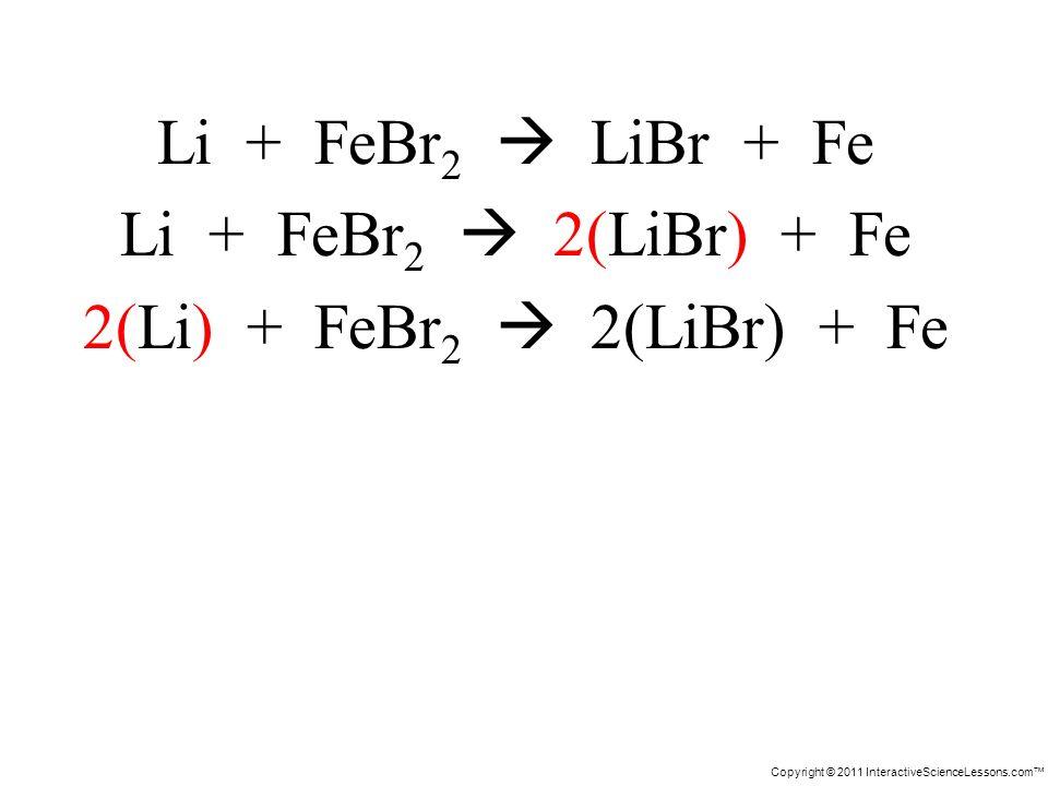 Copyright © 2011 InteractiveScienceLessons.com Li + FeBr 2 LiBr + Fe Li + FeBr 2 2(LiBr) + Fe 2(Li) + FeBr 2 2(LiBr) + Fe