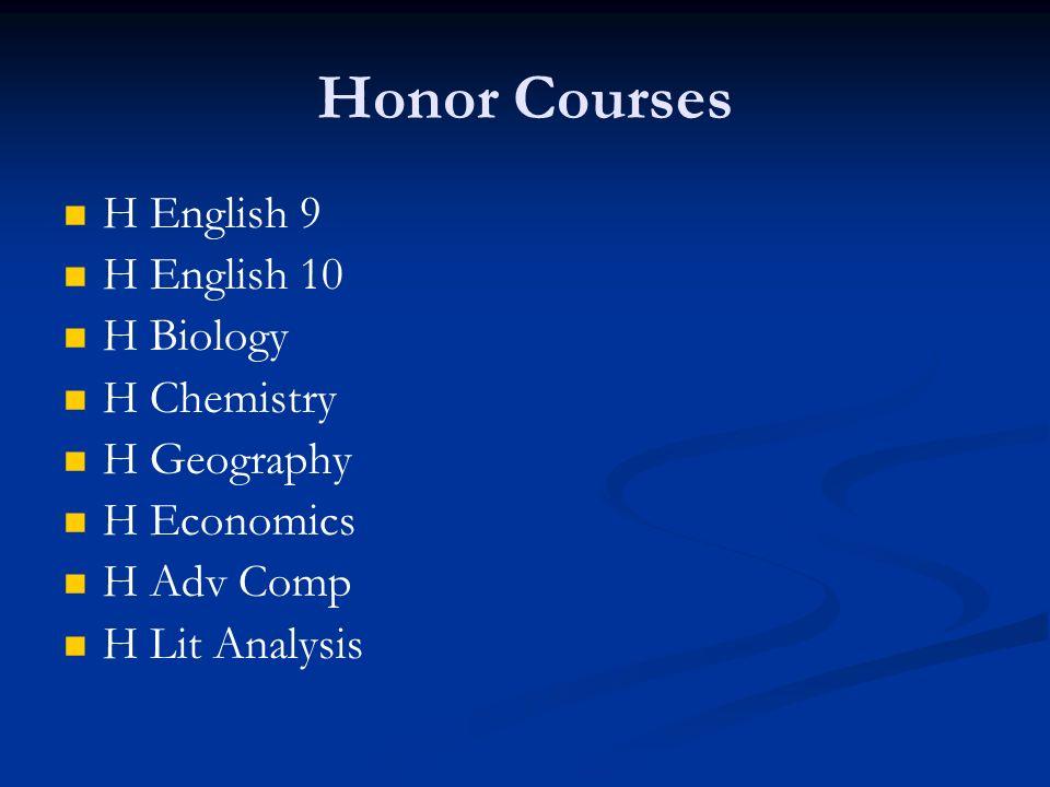Honor Courses H English 9 H English 10 H Biology H Chemistry H Geography H Economics H Adv Comp H Lit Analysis
