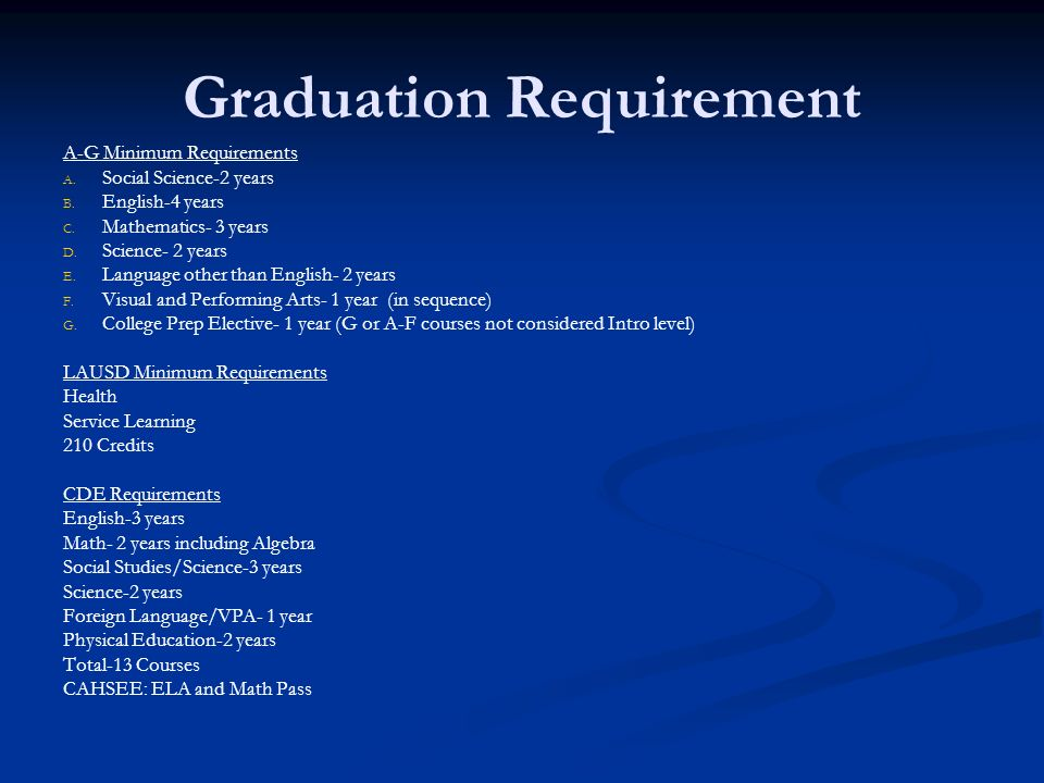 Graduation Requirement A-G Minimum Requirements A. A. Social Science-2 years B. B. English-4 years C. C. Mathematics- 3 years D. D. Science- 2 years E