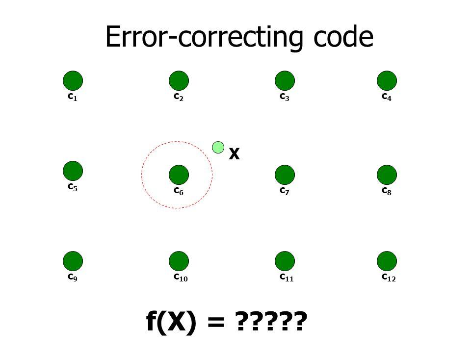 Error-correcting code c1c1 c2c2 c3c3 c5c5 c6c6 c7c7 c9c9 c 10 c 11 c4c4 c8c8 c 12 X f(X) = ?????