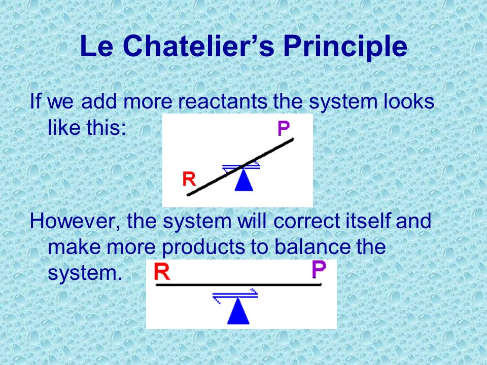 Le Chateliers Principle Equilibrium H 2 O H + + OH - If a stress is applied to a system in a dynamic equilibrium, the system changes to relieve the st