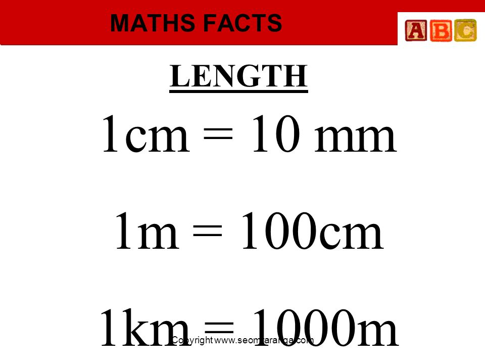 Copyright www.seomraranga.com MATHS FACTS 1cm = 10 mm 1m = 100cm 1km = 1000m LENGTH