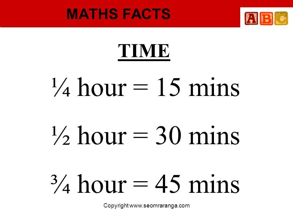 Copyright www.seomraranga.com MATHS FACTS TIME ¼ hour = 15 mins ½ hour = 30 mins ¾ hour = 45 mins