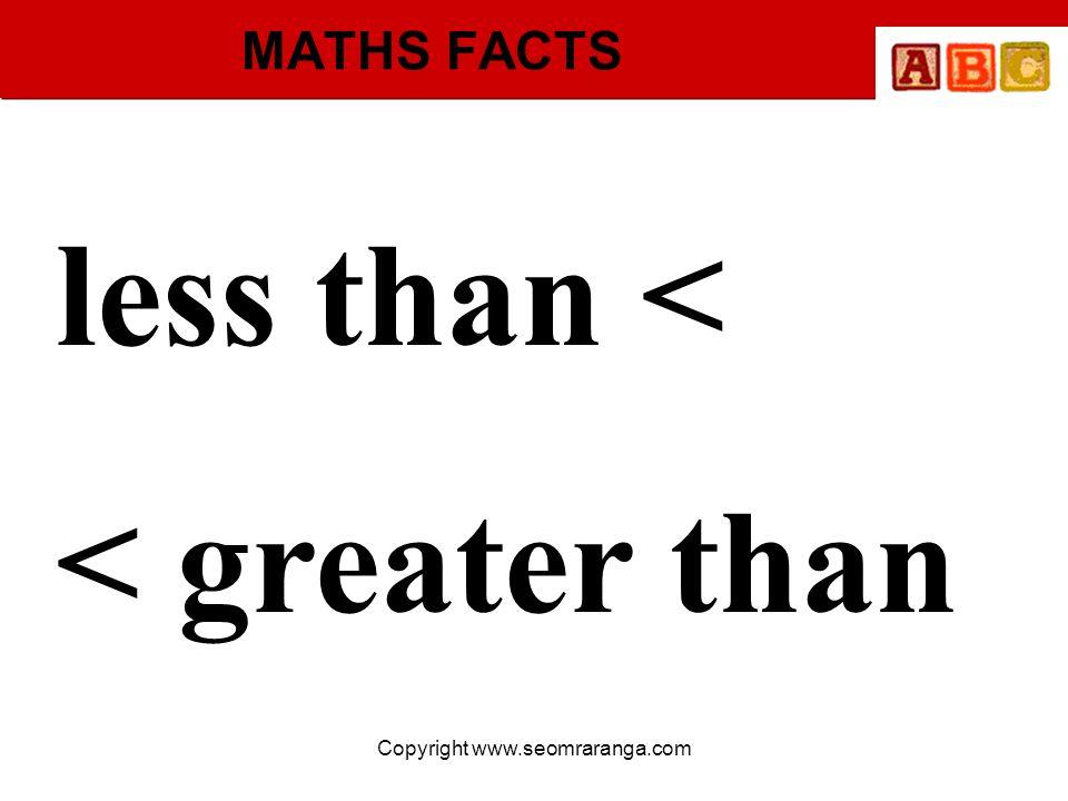 Copyright www.seomraranga.com MATHS FACTS less than < < greater than