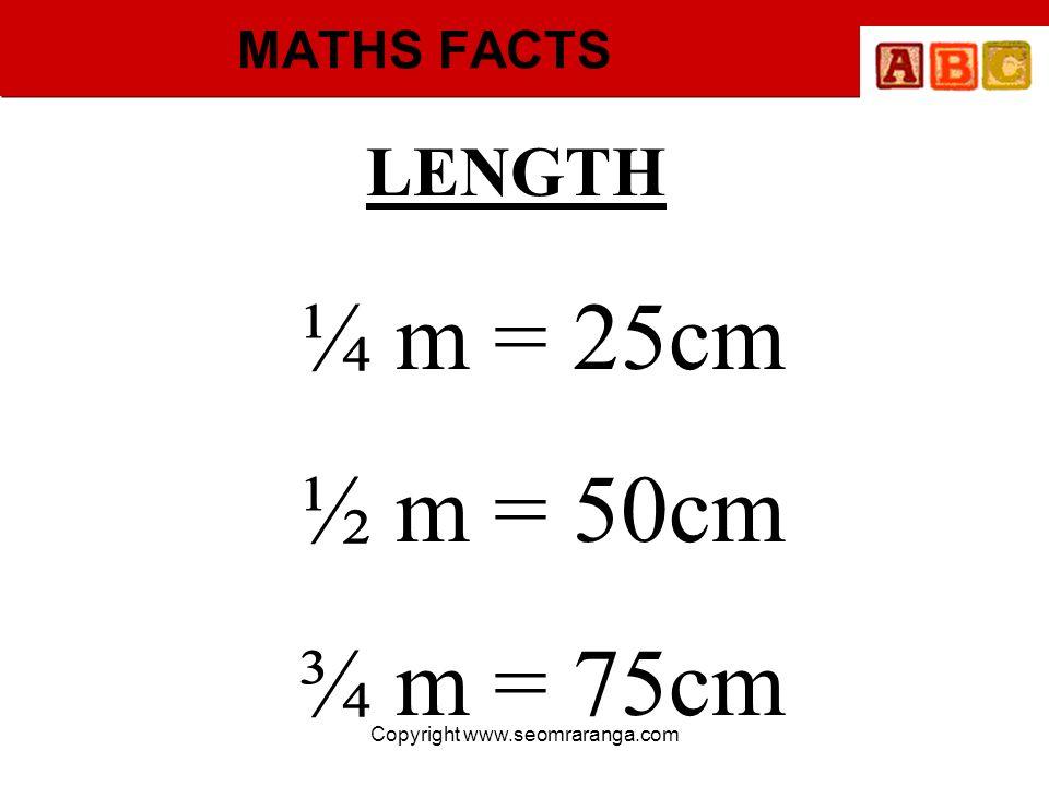 Copyright www.seomraranga.com MATHS FACTS LENGTH ¼ m = 25cm ½ m = 50cm ¾ m = 75cm