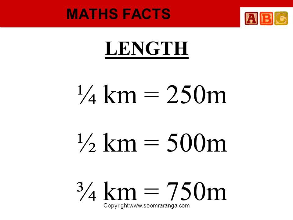 Copyright www.seomraranga.com MATHS FACTS ¼ km = 250m ½ km = 500m ¾ km = 750m LENGTH
