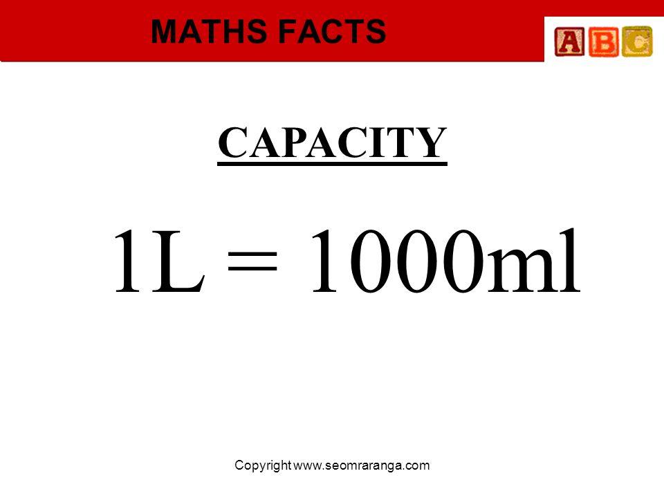 Copyright www.seomraranga.com MATHS FACTS CAPACITY 1L = 1000ml