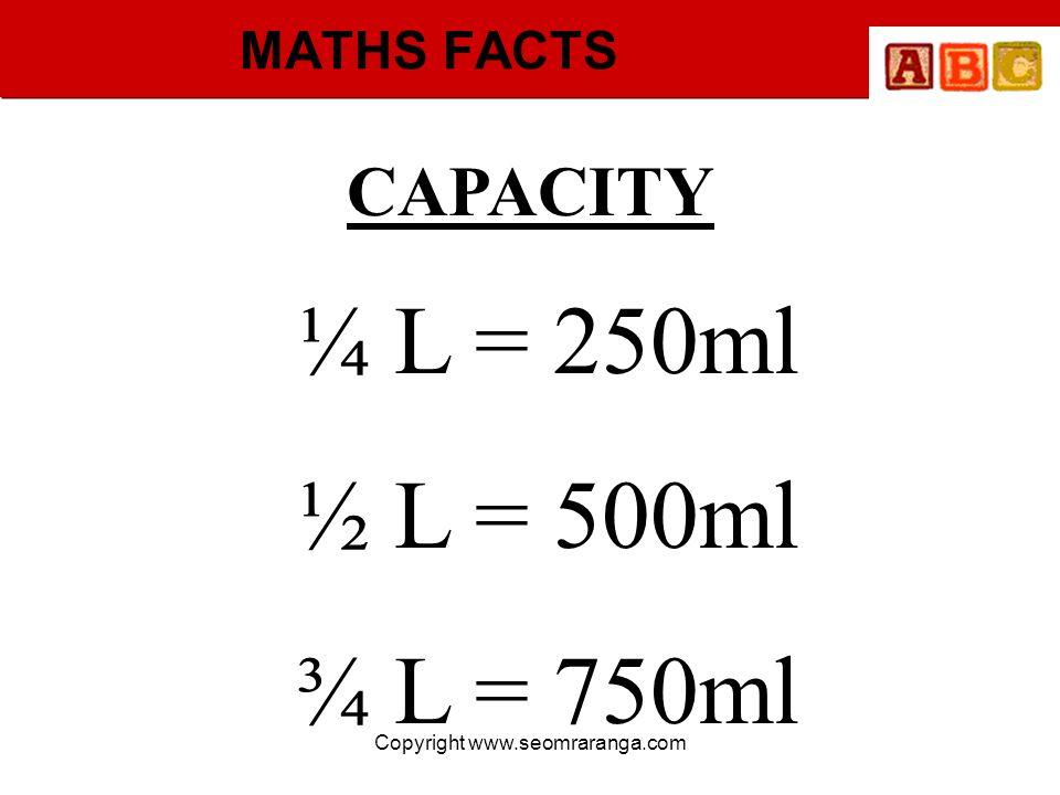 Copyright www.seomraranga.com MATHS FACTS ¼ L = 250ml ½ L = 500ml ¾ L = 750ml CAPACITY