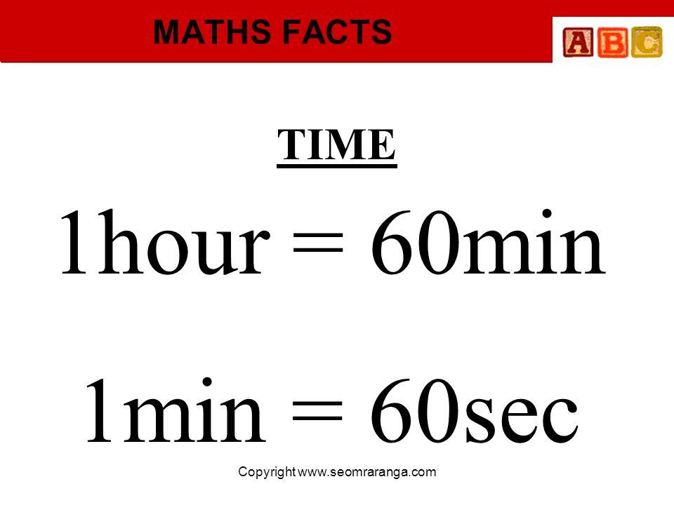 Copyright www.seomraranga.com MATHS FACTS TIME 1hour = 60min 1min = 60sec