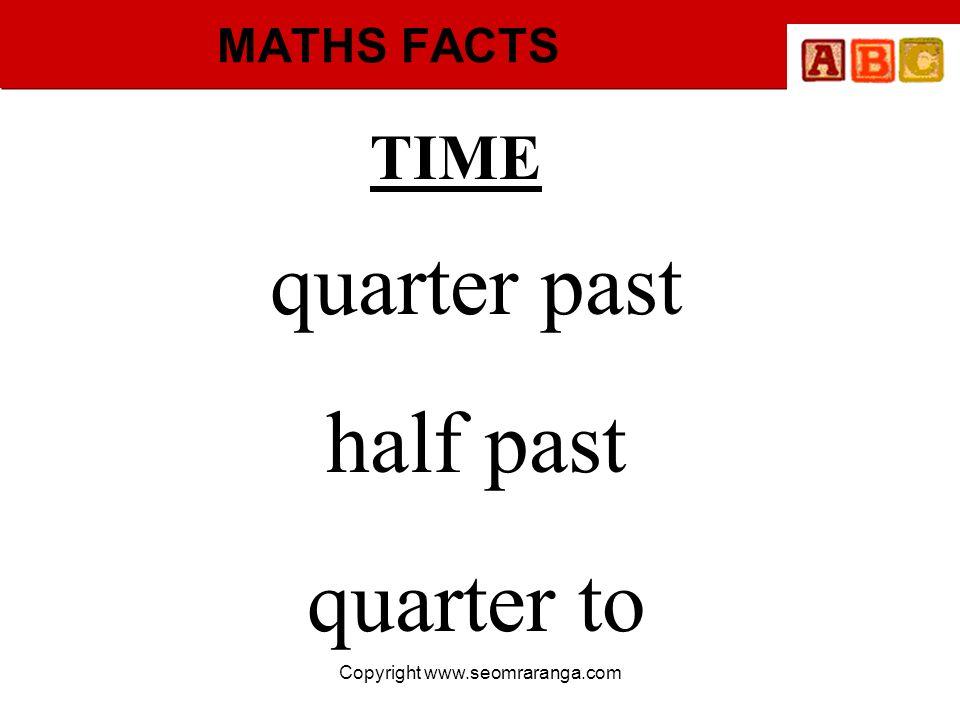 Copyright www.seomraranga.com MATHS FACTS TIME quarter past half past quarter to