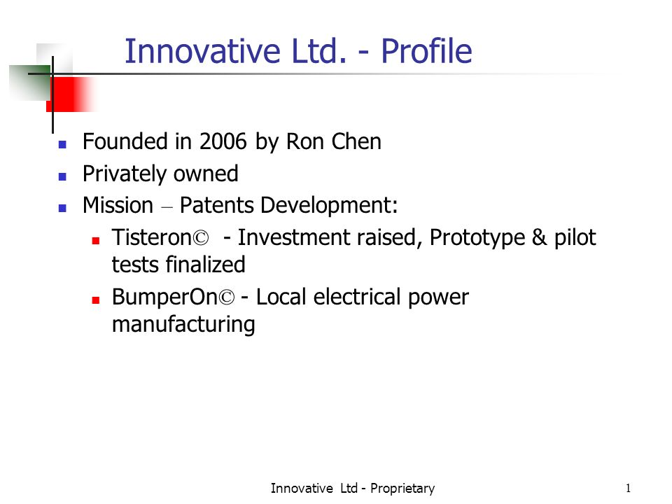Innovative Ltd - Proprietary1 Innovative Ltd.