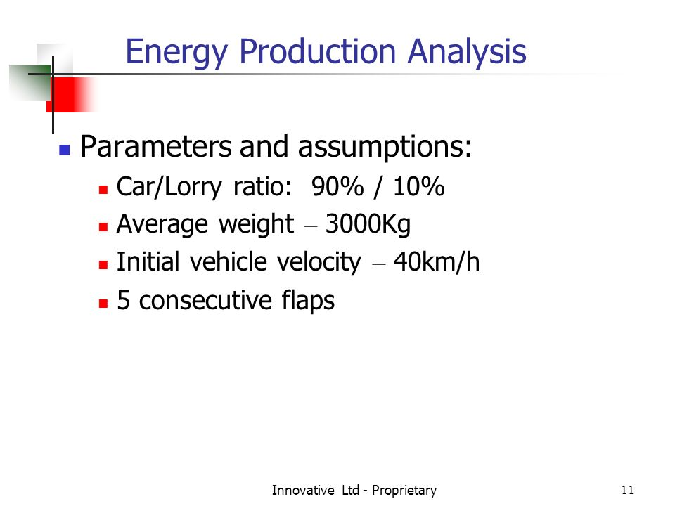 Innovative Ltd - Proprietary11 Energy Production Analysis Parameters and assumptions: Car/Lorry ratio: 90% / 10% Average weight – 3000Kg Initial vehicle velocity – 40km/h 5 consecutive flaps