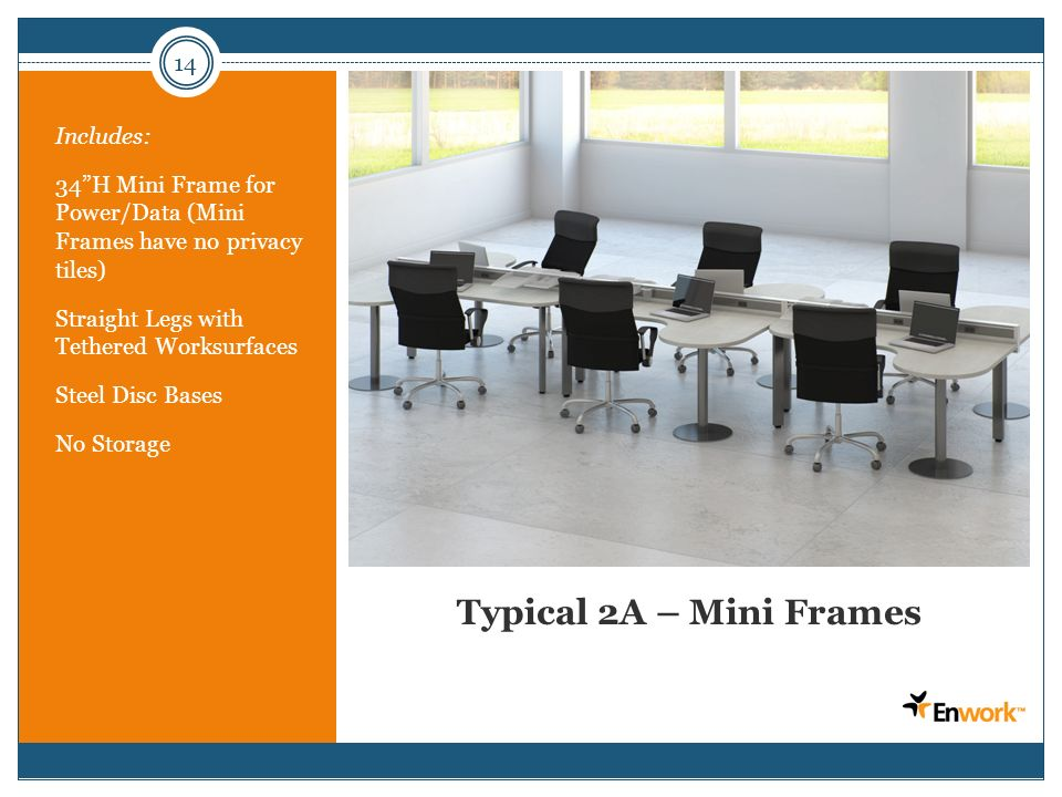 14 Typical 2A – Mini Frames Includes: 34H Mini Frame for Power/Data (Mini Frames have no privacy tiles) Straight Legs with Tethered Worksurfaces Steel