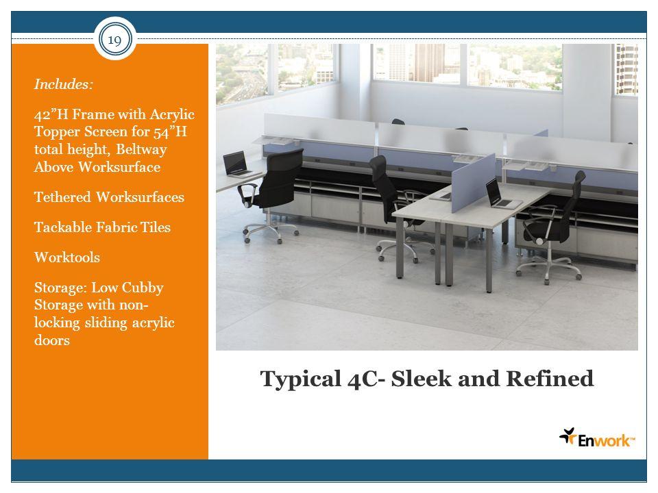 19 Typical 4C- Sleek and Refined Includes: 42H Frame with Acrylic Topper Screen for 54H total height, Beltway Above Worksurface Tethered Worksurfaces