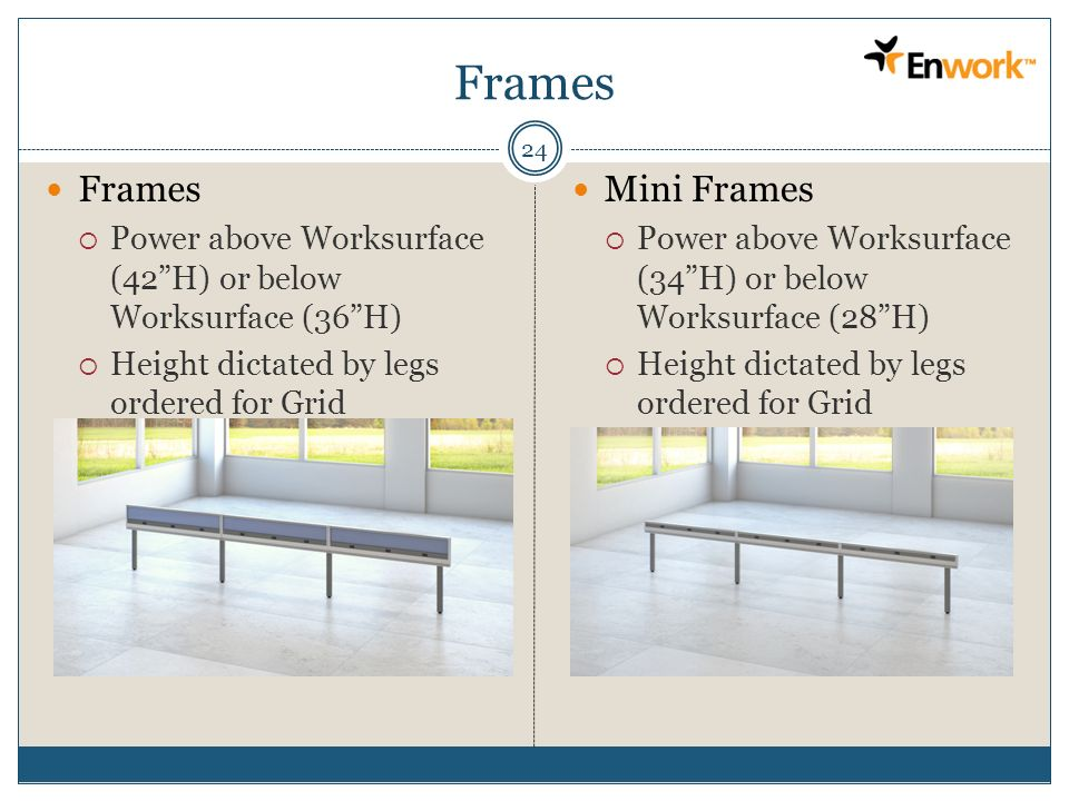 Frames 24 Frames Power above Worksurface (42H) or below Worksurface (36H) Height dictated by legs ordered for Grid Mini Frames Power above Worksurface
