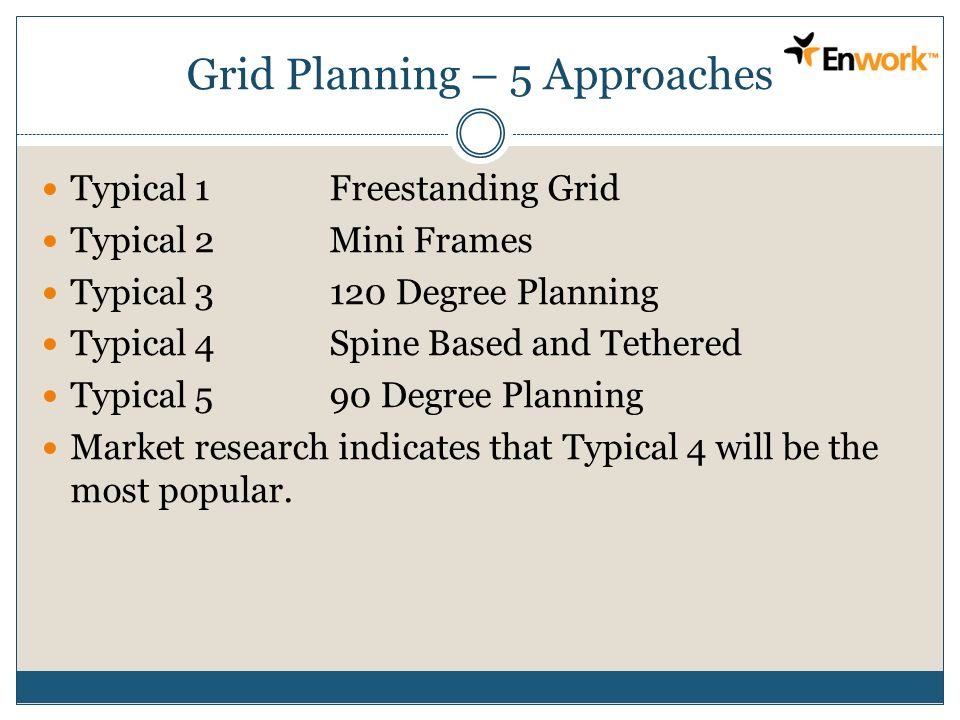 Grid Planning – 5 Approaches Typical 1Freestanding Grid Typical 2Mini Frames Typical 3120 Degree Planning Typical 4Spine Based and Tethered Typical 59