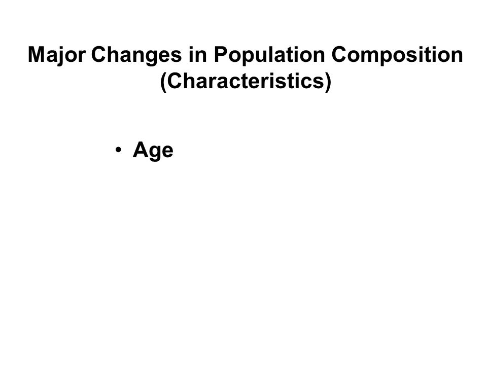Major Changes in Population Composition (Characteristics) Age