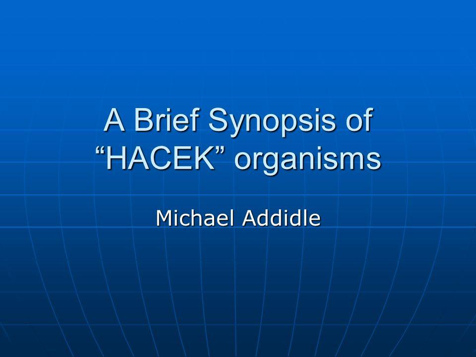 A Brief Synopsis of HACEK organisms Michael Addidle