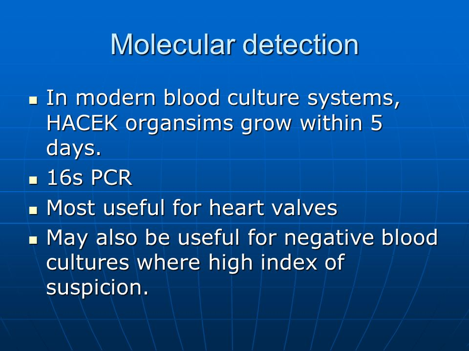 Molecular detection In modern blood culture systems, HACEK organsims grow within 5 days. In modern blood culture systems, HACEK organsims grow within